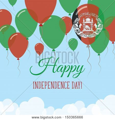 Afghanistan Independence Day Flat Greeting Card. Flying Rubber Balloons In Colors Of The Afghan Flag