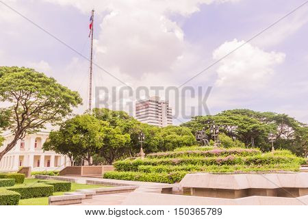 Bangkok Thailand - June 5 2016: King Chulalongkorn and King Vajiravudth (Rama V and VI) statue at front of University with background of Faculty of Engineering