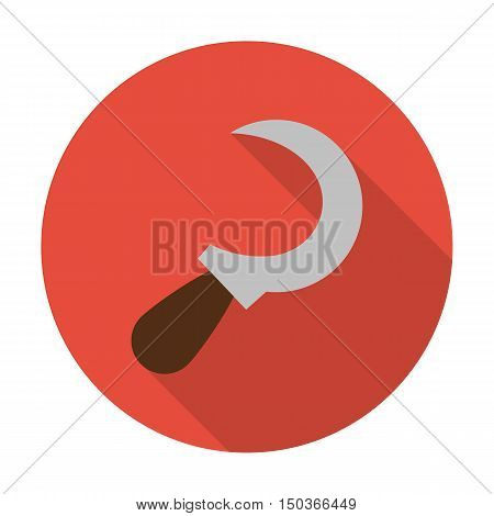 sickle flat icon with long shadow for web design