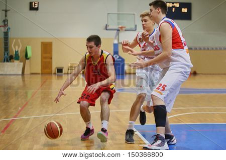 MOSCOW, RUSSIA - DECEMBER 12, 2015: Basketball match at the indoor stadium betwen CSKA and Labor Reserves teams.