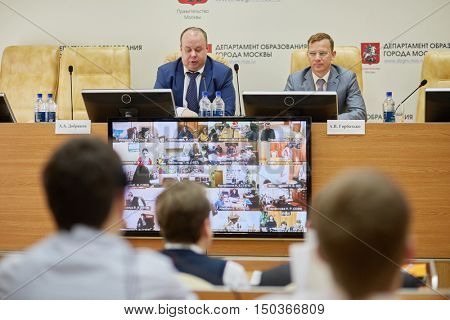 MOSCOW, RUSSIA - MAR 21, 2016: Dobryakov A.A. Director of State Autonomous Institution of Moscow Center of Technological Modernization of Education speaks in Department of Education.