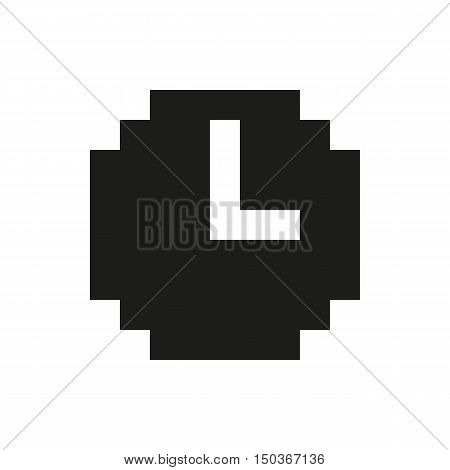 retro pixel clock Icon Created For Mobile Web Decor Print Products Applications. Black icon set isolated on white background. Vector illustration.