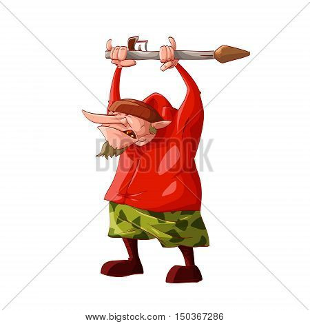Colorful vector illustration of a cartoon rebel / separatist guerilla fighter. Wearing a hat red sweatshirt cammo pants boots holding an RPG ( Rocket-propelled grenade )