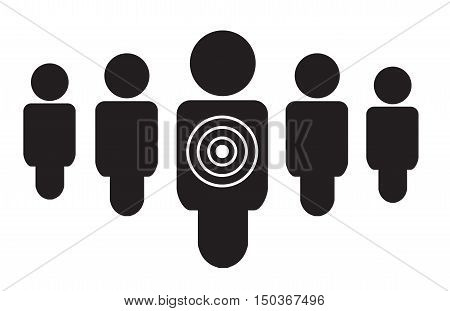 Personal targeted consumer marketing flat icon. Users target icon