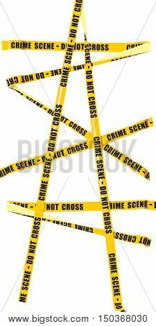 Isolated image of yellow police tape with the words -Crime scene Do not cross