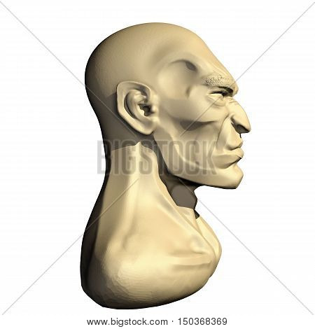 Male three dimensional human head. 3d cartoon model of artificial head. Right side view.