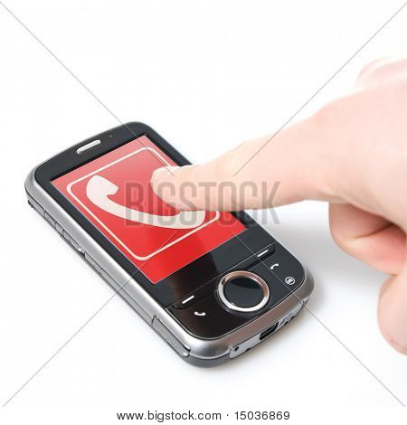 finger and pda with touch screen isolated on white