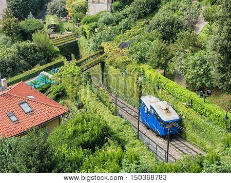 The historic public funicular in Bergamo Italy
