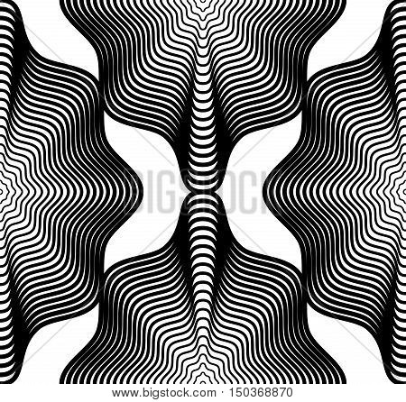 Black and white illusive abstract seamless pattern with geometric figures. Vector symmetric simple backdrop.