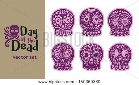 Day Of The Dead logo. Skull vector set. Ornate one color. Dia de los Muertos icons