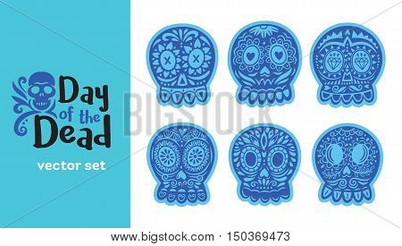 Sugar skull from Day of the Death. Vector set. Ornate one color. Dia de los Muertos icons
