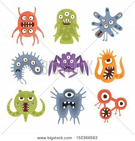 Aggressive Fantastic Alien Microorganisms Set. Bright Color Primitive Unfriendly Creatures Of Different Shapes Drawings Collection Isolated On White Background.