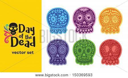 Day Of The Dead logo. Skull vector colorful set. Dia de los Muertos icons
