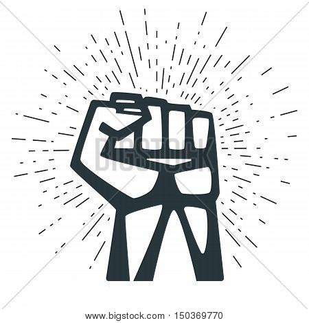 A Clenched Fist Held High In Protest. Concepts for t-shirt and printed materials. Vector illustration.