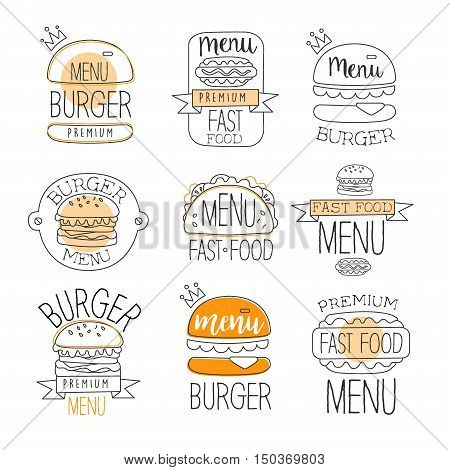 Burger Street Food Promo Labels Collection. Fast Food Of Premium Quality Advertisement Sign Set. Light Color Flat Cute Illustration In Simplified Outlined Vector Design