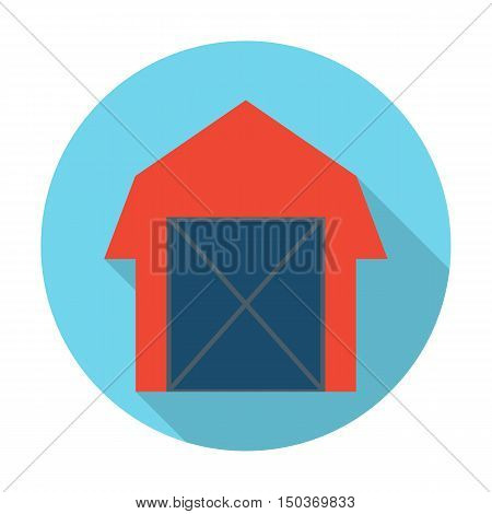 barn flat icon with long shadow for web design