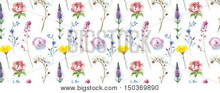 FB cover for Facebook in a watercolor style isolated. Set elements: wild flowers. Aquarelle image could be used for profile background, timeline wallpaper, fb page header or as banner template.