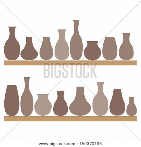 Clay jugs and vases on the shelves. Pottery. Vector illustration.