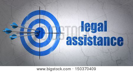Success law concept: arrows hitting the center of target, Blue Legal Assistance on wall background, 3D rendering