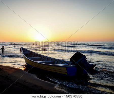 Sunset in Iran on Caspian sea