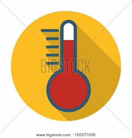 thermometer flat icon with long shadow for web design