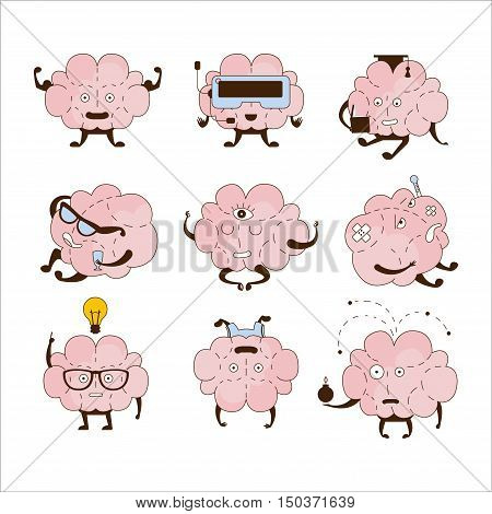 Brain Different Activities And Emotions Icon Set. Comic Style Outlined Hand Drawn Emojis Isolated On White Background.