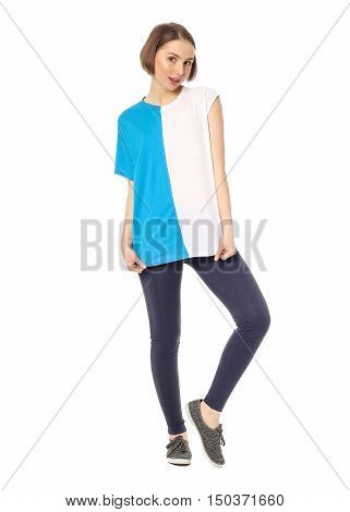 Slim Woman Wearing The Sport Clothes For Fitness Isolated