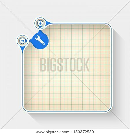 A white box for your text with graph paper and spanner