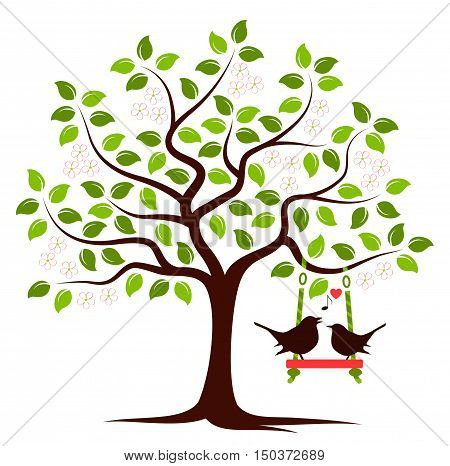 vector flowering tree with swing and couple of birds isolated on white background