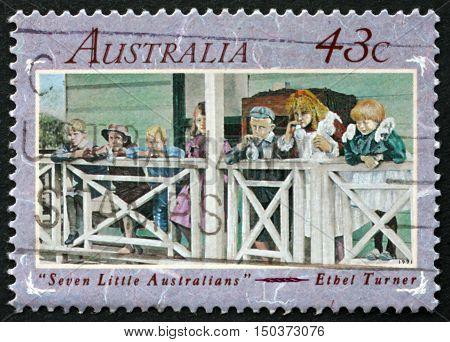 AUSTRALIA - CIRCA 1991: a stamp printed in Australia shows Seven Little Australians is a Classic Australian Children's Novel by Ethel Turner circa 1991