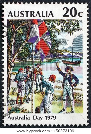 AUSTRALIA - CIRCA 1979: a stamp printed in Australia shows Flag Raising at Sydney Cove Australia Day circa 1979