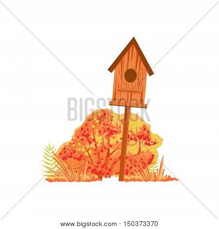 Bird House And Bush With Orange Leaves As Autumn Attribute. Seasonal Symbol In Cute Detailed Cartoon Style On White Background.
