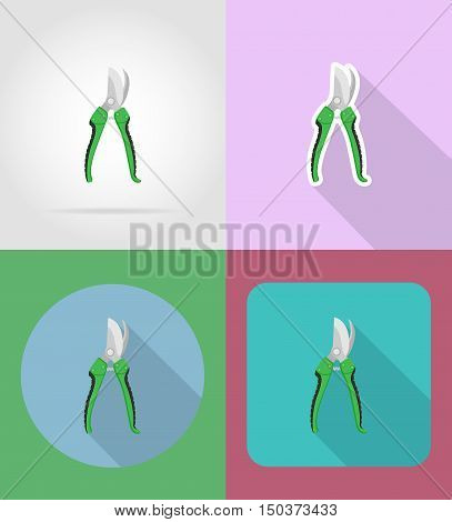 gardening tool secateurs flat icons vector illustration isolated on background