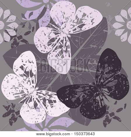 Seamless Pattern with Butterfly silhouettes on blossom flowers. Vector image for your designs.