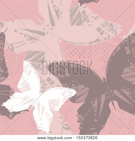 Seamless Pattern with butterflies. Stylish template can be used for design fabric,  tile, kids clothing and more creative designs.