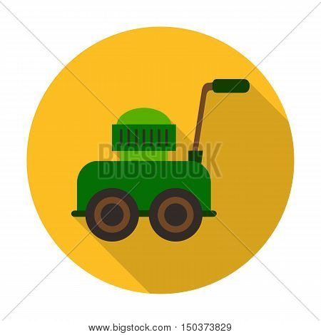 lawnmower flat icon with long shadow for web design