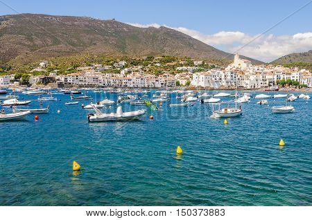 CADAQUES, SPAIN - AUGUST 1, 2015: Skyline view of the white village of Cadaques in the Costa Brava Spain