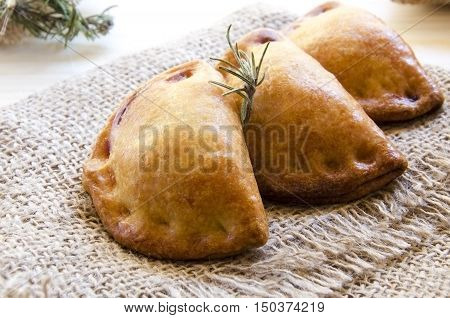 Closeup of typical spanish empanadillas small meat or tuna fried pies