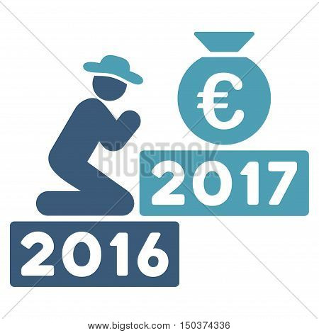 Pray for Euro 2017 vector icon. Style is flat graphic symbol, cyan and blue colors, white background.
