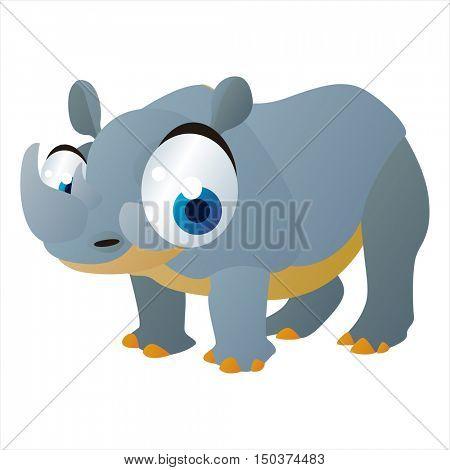 vector cute isolated animal character illustration. Funny Rhinoceros