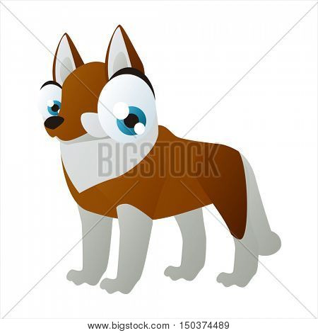 vector cute isolated animal character illustration. Funny Husky Dog