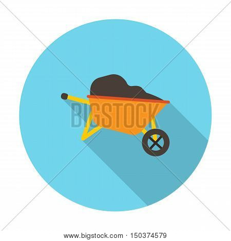 wheelbarrow flat icon with long shadow for web design