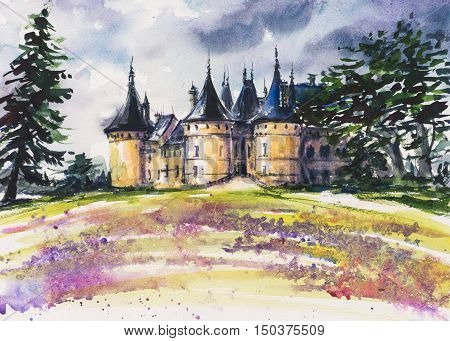 Chaumont, France - old medieval castle watercolor painted.