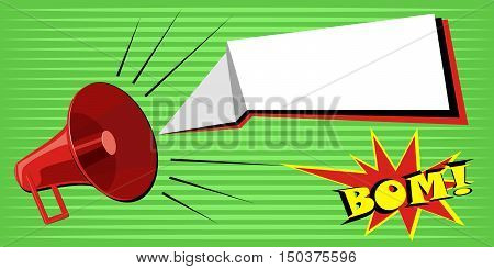 Speaker announces information. Stock Vector Pop Art on a blue background on a green background