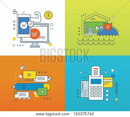 Concept of protection of payments and transactions, insurance housing and property, methods and ways of payment, video communications. Color Line icons collection. Vector design for website, banner.