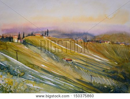 Watercolor painted illustration of Styrian Tuscany Vineyard at sunset, Austria