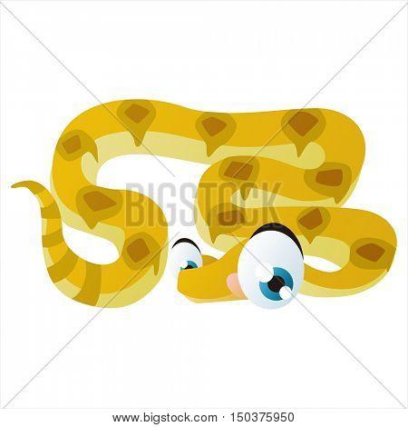 vector cute isolated animal character illustration. Funny Boa Snake