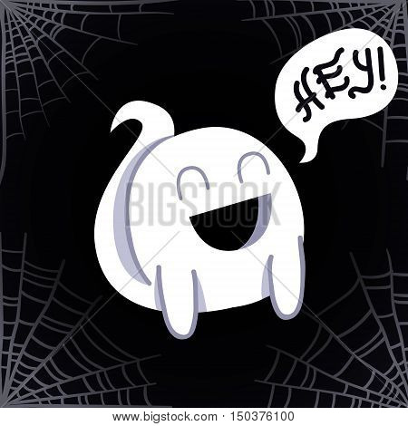 Ghost cartoon vector background (Hey!) with a spider's web.