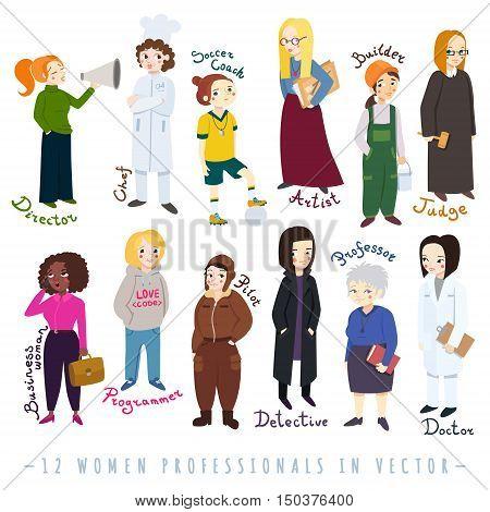 Women professionals cartoon naive style vector set.