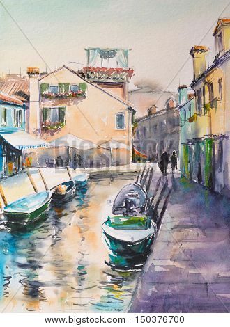 Building landmarks-colorful houses on Burano island, Italy. Picture created with watercolors.